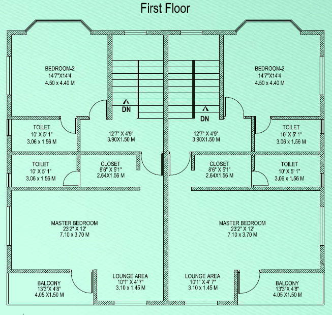 Semi detached house plans for Semi detached floor plans